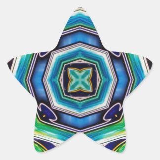 Blue Green Artistic Modern Abstract Star Sticker