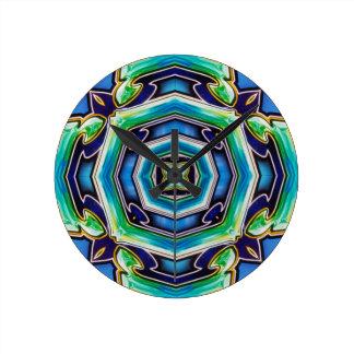 Blue Green Artistic Modern Abstract Wall Clock