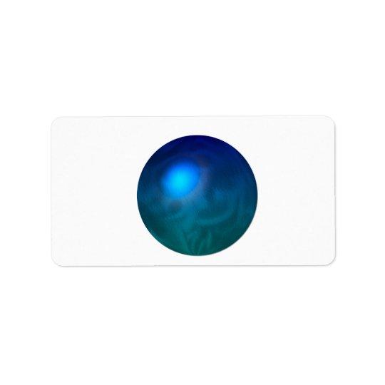 Blue green ball graphic metal reflection swirl address label