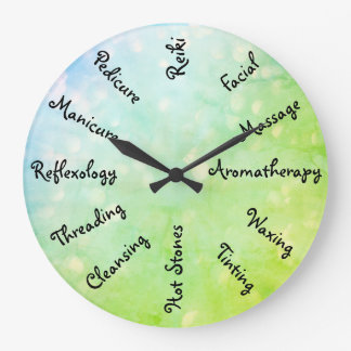 Blue / Green Beauty Therapy design Large Clock