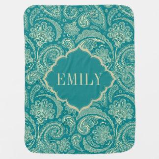 Blue-Green & Beige Creme Vintage Paisley Monogram Baby Blanket