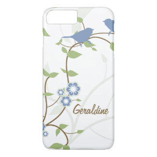 Blue Green Birds Leaves Flowers iPhone 8 Plus/7 Plus Case
