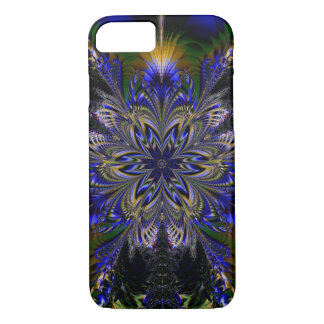 Blue, Green, Black Floral Fractal iPhone Case