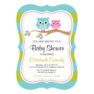 Blue Green, Bracket Cute Owls Baby Shower Invite. Card