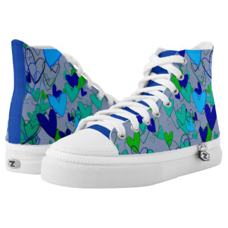 Blue Green Bright Vibrant Bold Hearts Cheerful High Tops
