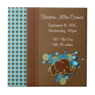 Blue, Green & Brown Plaid Baby Elephant Small Square Tile