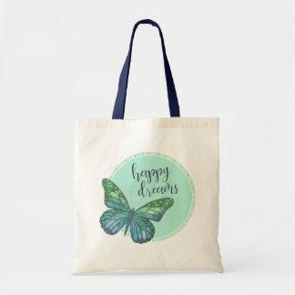 Blue Green Butterfly Watercolor Happy Dreams Tote Bag
