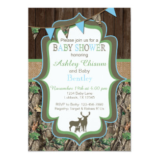 Blue Green Camo Baby Shower Invitation