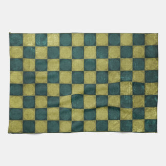 blue green checker  American Mojo Placemat Hand Towel
