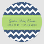 Blue Green Chevron Baby Shower Favour Stickers