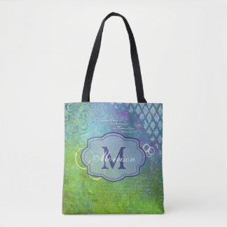 Blue Green Collage Monogram Bag