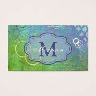 Blue Green Collage Monogram Business Card