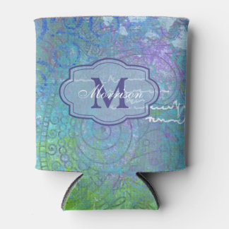 Blue Green Collage Monogram Can Cooler