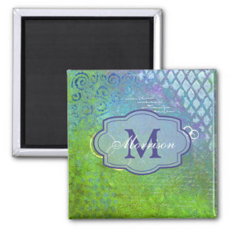 Blue Green Collage Monogram Magnet
