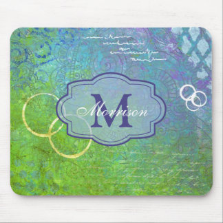 Blue Green Collage Monogram Mousepad