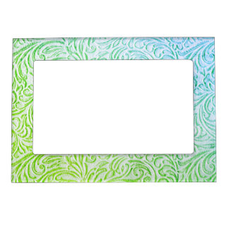 Blue Green Color Vintage Floral Scrollwork Graphic Magnetic Picture Frame