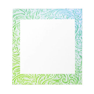 Blue Green Color Vintage Floral Scrollwork Graphic Notepad