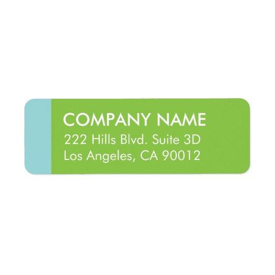 Blue Green Colour Block Modern Return Address Label