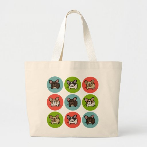 Blue, Green & Coral Frenchies Canvas Bag