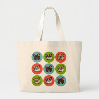 Blue, Green & Coral Frenchies Large Tote Bag