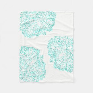 blue green coral pattern fleece blanket