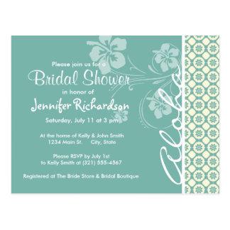 Blue-Green & Cream Floral; Aloha Postcard
