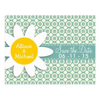 Blue-Green & Cream Floral; Daisy Postcard