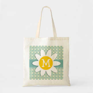 Blue-Green & Cream Floral; Daisy Tote Bag