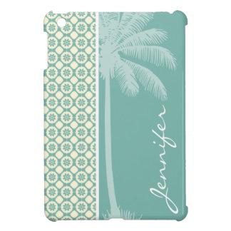 Blue-Green & Cream Floral iPad Mini Cover