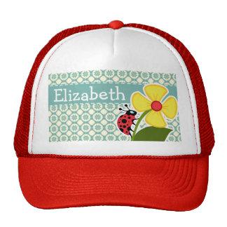 Blue-Green & Cream Floral; Ladybug Cap