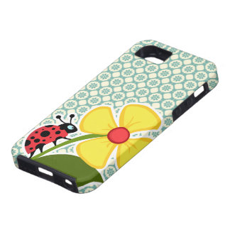 Blue-Green & Cream Floral; Ladybug iPhone 5 Cover