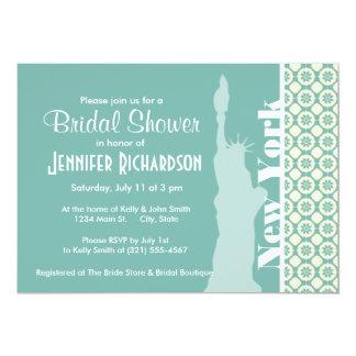 Blue-Green & Cream Floral; New York 13 Cm X 18 Cm Invitation Card