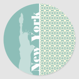 Blue-Green & Cream Floral; New York Round Sticker