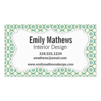 Blue-Green & Cream Floral Pattern Pack Of Standard Business Cards