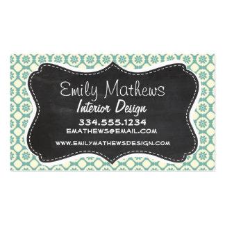 Blue-Green & Cream Floral; Vintage Chalkboard Pack Of Standard Business Cards