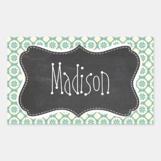 Blue-Green & Cream Floral; Vintage Chalkboard Rectangular Sticker