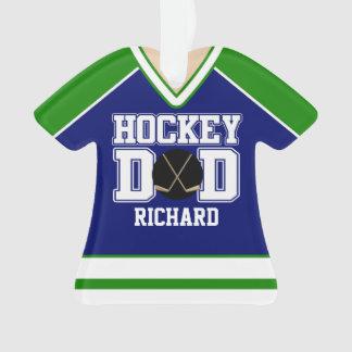 Blue/Green Custom Hockey Dad Jersey Ornament
