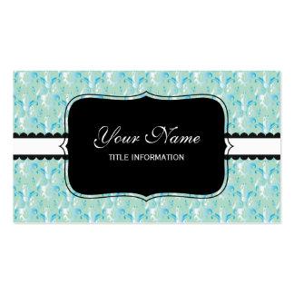 Blue Green Damask Design Business Cards