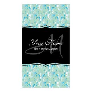Blue Green Damask Design Business Card Template