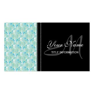 Blue Green Damask Design Business Card Templates