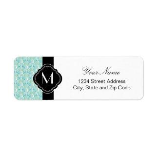 Blue Green Damask Design Return Address Label