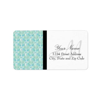 Blue Green Damask Design Address Label