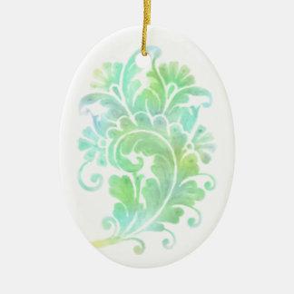 Blue Green Damask Motif Christmas Ornament