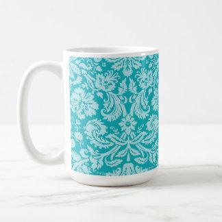Blue-Green Damask Pattern Basic White Mug