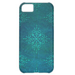 Blue Green Damask Pattern Case For iPhone 5C