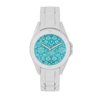 Blue-Green Damask Pattern Watch