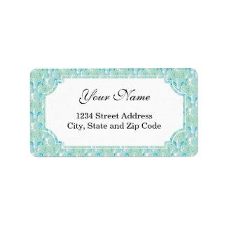 Blue Green Damask Pattern Address Label