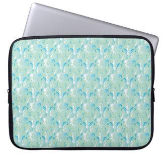 Blue Green Damask Pattern Laptop Sleeve