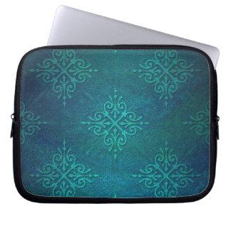 Blue Green Damask Pattern Laptop Computer Sleeves