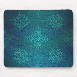 Blue Green Damask Pattern Mouse Pad